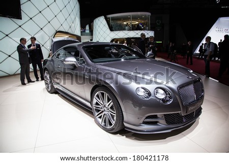 GENEVA, MAR 4: Bentley New GT Speed, presented at the 84th International Motor Show in Geneva, Switzerland on March 4, 2014. - stock photo