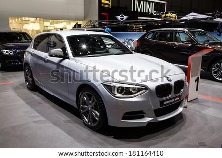 GENEVA, MAR 4: BMW M135i xDrive, presented at the 84th International Motor Show in Geneva, Switzerland on March 4, 2014. - stock photo