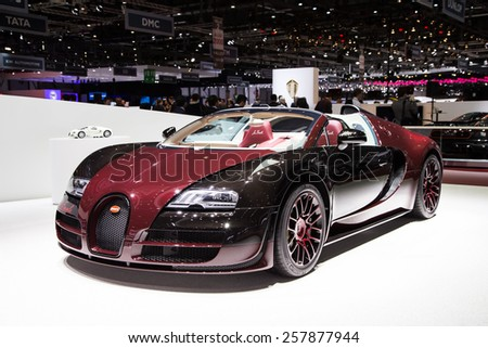 "GENEVA, MAR 3: Bugatti Veyron ""La Finale"", presented at the 85th International Motor Show in Geneva, Switzerland on March 3, 2015. - stock photo"
