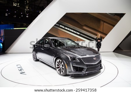 GENEVA, MAR 3: 2016 Cadillac CTS-V, presented at the 85th International Motor Show in Geneva, Switzerland on March 3, 2015. - stock photo