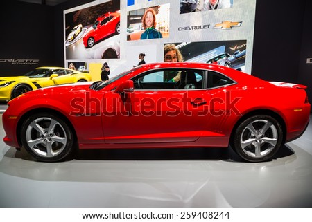 GENEVA, MAR 3: Chevrolet Camaro, presented at the 85th International Motor Show in Geneva, Switzerland on March 3, 2015. - stock photo