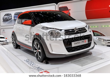 GENEVA, MAR 4: Citroen C1, displayed at the 84th International Motor Show International Motor Show in Geneva, Switzerland on March 4, 2014. - stock photo