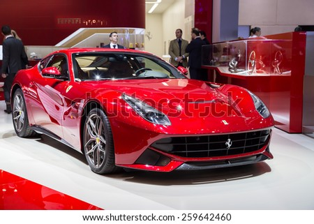 GENEVA, MAR 3: Ferrari F12 Berlinetta, presented at the 85th International Motor Show in Geneva, Switzerland on March 3, 2015. - stock photo