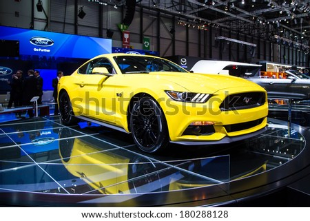 GENEVA, MAR 4: Ford Mustang, presented at the 84th International Motor Show in Geneva, Switzerland on March 4, 2014. - stock photo