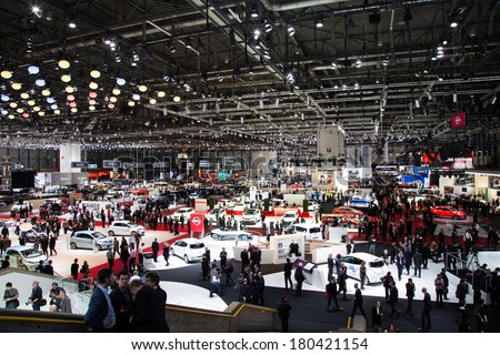 GENEVA, MAR 4: General view at the 84th International Motor Show in Geneva, Switzerland on March 4, 2014. - stock photo