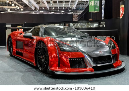 GENEVA, MAR 4: Gumpert Apollo displayed at the 84th International Motor Show International Motor Show in Geneva, Switzerland on March 4, 2014. - stock photo