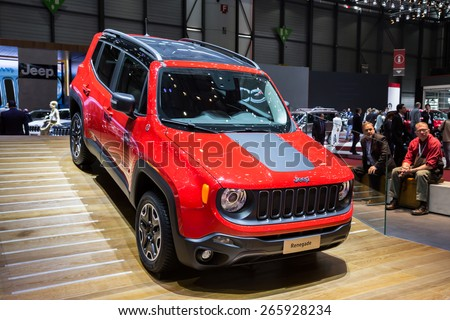 GENEVA, MAR 3: Jeep Renegade car, presented at the 85th International Motor Show in Geneva, Switzerland on March 3, 2015.