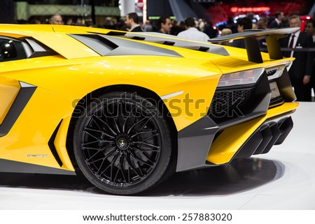 GENEVA, MAR 3: Lamborghini Aventador SV, presented at the 85th International Motor Show in Geneva, Switzerland on March 3, 2015. - stock photo
