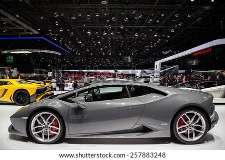GENEVA, MAR 3: Lamborghini Huracan, presented at the 85th International Motor Show in Geneva, Switzerland on March 3, 2015. - stock photo