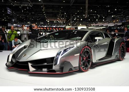 GENEVA, MAR 5: Lamborghini VENENO, exclusive super car from Lamborghini, presented at the 83rd Geneva Motor Show, in Switzerland on March 5, 2013. - stock photo