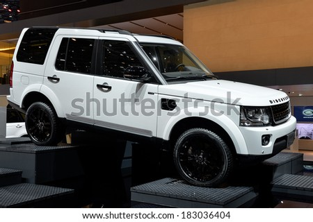GENEVA, MAR 4: Land Rover displayed at the 84th International Motor Show International Motor Show in Geneva, Switzerland on March 4, 2014.