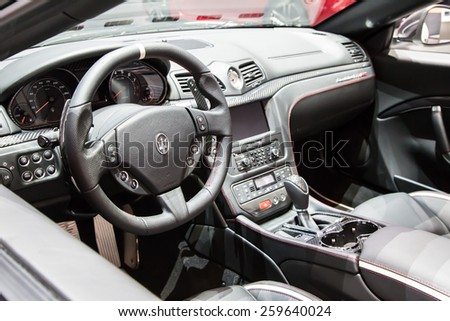 GENEVA, MAR 3: Maserati Grancabrio MC car interiors, presented at the 85th International Motor Show in Geneva, Switzerland on March 3, 2015. - stock photo