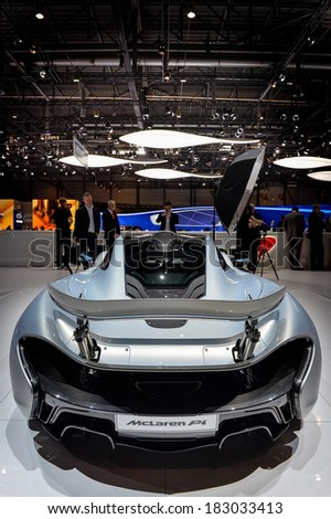 GENEVA, MAR 4: McLaren P1 displayed at the 84th International Motor Show International Motor Show in Geneva, Switzerland on March 4, 2014.