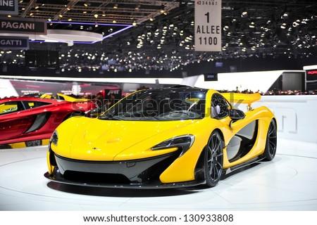 GENEVA, MAR 5: McLaren P1, hybrid super car from McLaren, presented at the 83rd Geneva Motor Show, in Switzerland on March 5, 2013. - stock photo