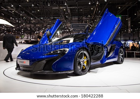 GENEVA, MAR 4: McLaren 650S, presented at the 84th International Motor Show in Geneva, Switzerland on March 4, 2014. - stock photo