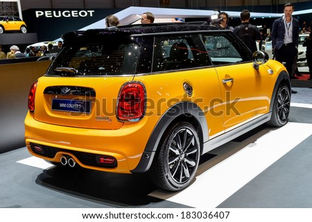 GENEVA, MAR 4: Mini Cooper displayed at the 84th International Motor Show International Motor Show in Geneva, Switzerland on March 4, 2014.