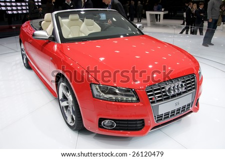 GENEVA, MAR 4: new Audi S5 Cabrio, presented at the 79th Geneva Motor Show, in Swtizerland on March 4, 2009. - stock photo