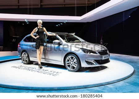 GENEVA, MAR 4: Peugeot 308sw, at the 84th International Motor Show in Geneva, Switzerland on March 4, 2014 - stock photo