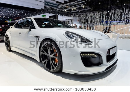 GENEVA, MAR 4: Porsche Panamera styled by Techart, displayed at the 84th International Motor Show International Motor Show in Geneva, Switzerland on March 4, 2014. - stock photo