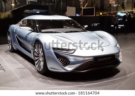 GENEVA, MAR 4: Quant e-Sportlimousine nanoFLOWCELL, presented at the 84th International Motor Show in Geneva, Switzerland on March 4, 2014. - stock photo