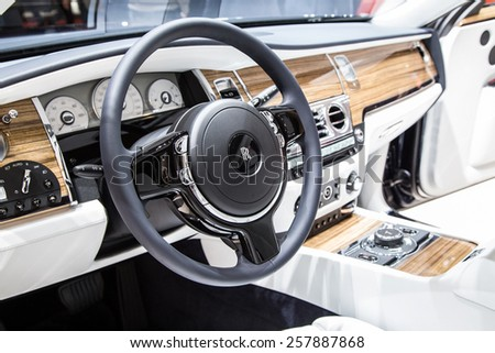 GENEVA, MAR 3: Rolls-Royce car interior, presented at the 85th International Motor Show in Geneva, Switzerland on March 3, 2015. - stock photo