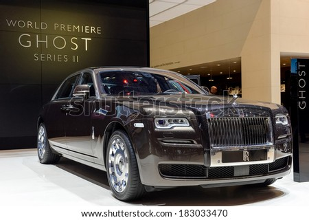 GENEVA, MAR 4: Rolls Royce Ghost, displayed at the 84th International Motor Show International Motor Show in Geneva, Switzerland on March 4, 2014. - stock photo