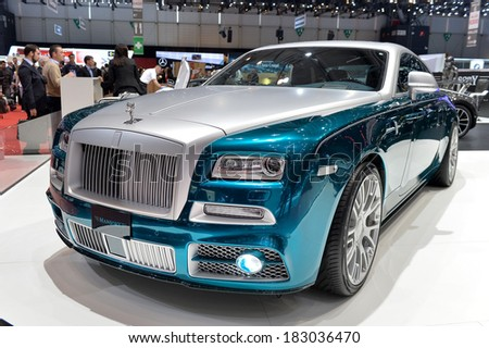 GENEVA, MAR 4: Rolls Royce styled by Mansory displayed at the 84th International Motor Show International Motor Show in Geneva, Switzerland on March 4, 2014. - stock photo