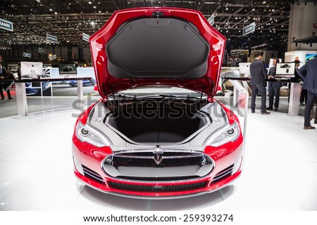 GENEVA, MAR 3: Tesla Model S P85D front trunk, presented at the 85th International Motor Show in Geneva, Switzerland on March 3, 2015. - stock photo