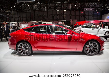 GENEVA, MAR 3: Tesla Model S P85D, presented at the 85th International Motor Show in Geneva, Switzerland on March 3, 2015. - stock photo