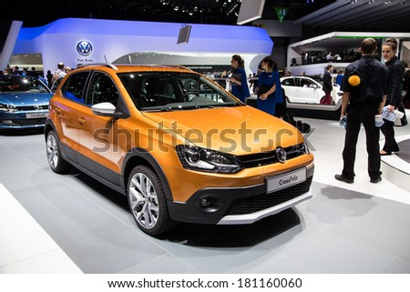 GENEVA, MAR 4: Volkswagen Cross Polo, presented at the 84th International Motor Show in Geneva, Switzerland on March 4, 2014.
