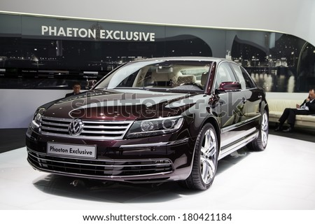 GENEVA, MAR 4: Volkswagen Phaeton Exclusive, presented at the 84th International Motor Show in Geneva, Switzerland on March 4, 2014.
