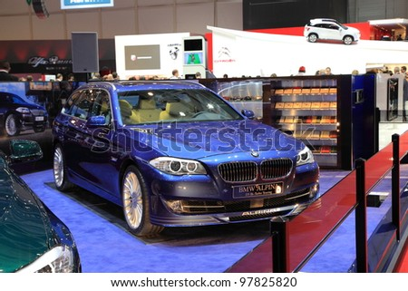 GENEVA - MARCH 8: A BMW ALPINA D5 Bi-Turbo Touring car on display at 82th International Motor Show Palexpo-Geneva on March 8, 2012 in Geneva, Switzerland. - stock photo