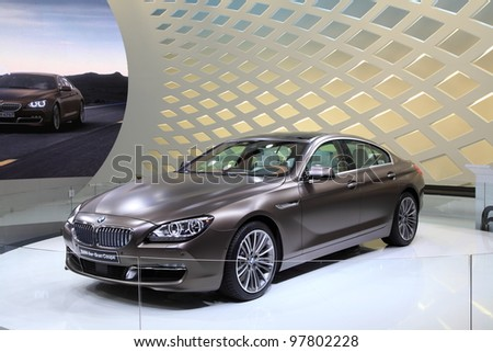 GENEVA, MARCH 8 : A BMW 6er gran coupe car on display at 82th International Motor Show Palexpo-Geneva on March 8, 2012 in Geneva, Switzerland.