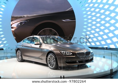GENEVA, MARCH 8 : A BMW 6er gran coupe car on display at 82th International Motor Show Palexpo-Geneva on March 8, 2012 in Geneva, Switzerland. - stock photo
