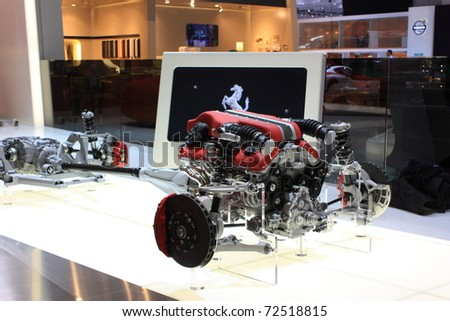 GENEVA - MARCH 3 : A  Ferrari car engine show on display at 81th International Motor Show Palexpo-Geneva on March 3, 2010 in Geneva, Switzerland.