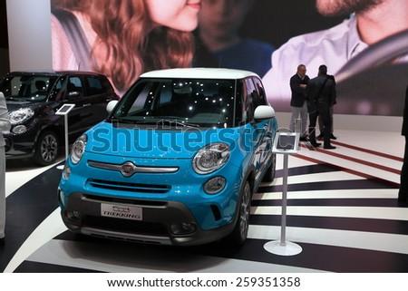 GENEVA, MARCH 3:A Fiat 500 L trekking  car on display at 85th international Geneva motor Show at Palexpo-Geneva on March 3, 2015 at Geneva, Switzerland.  - stock photo