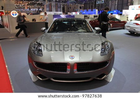 GENEVA - MARCH 8: A FISKER KARM car on display at 82th International Motor Show Palexpo-Geneva on March 8, 2012 in Geneva, Switzerland.