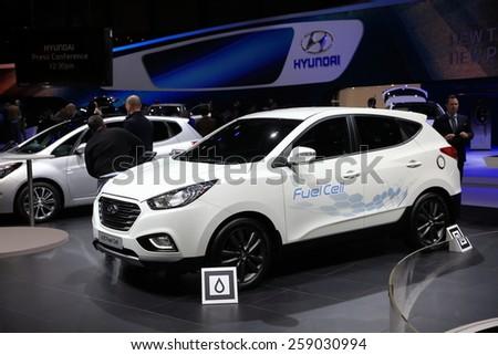 GENEVA, MARCH 3:A Hyundai ix35 Fuel cell  car on display at 85th international Geneva motor Show at Palexpo-Geneva on March 3, 2015 in Geneva, Switzerland.  - stock photo