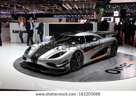 GENEVA, MARCH 6 : A  Koenigsegg one:1 car on display at 84th international Geneva motor show Show Palexpo-Geneva on March 6, 2014 in Geneva, Switzerland.   - stock photo