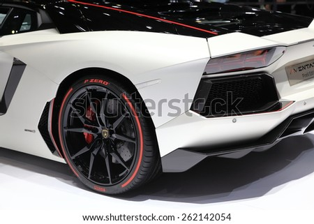 GENEVA, MARCH 3:A Lamborghini Aventador LP 700-4 Pirelli Edition car on display at 85th international Geneva motor Show at Palexpo-Geneva on March 3, 2015 at Geneva, Switzerland.  - stock photo