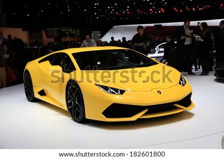 GENEVA, MARCH 6 : A Lamborghini Huracan car on display at 84th international Geneva motor show Show Palexpo-Geneva on March 6, 2014 in Geneva, Switzerland.  - stock photo
