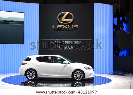 GENEVA - MARCH 4 : A  LEXUS  car on display at 80th International Motor Show Palexpo-Geneva on March 4, 2010 in Geneva, Switzerland. - stock photo