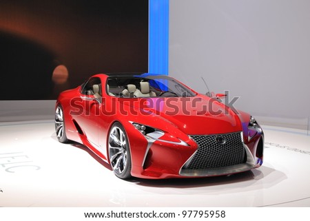GENEVA, MARCH 8 : A lexus LF-LC Hybrid sport coupe concept  car on display at 82th International Motor Show Palexpo-Geneva on March 8, 2012 in Geneva, Switzerland. - stock photo
