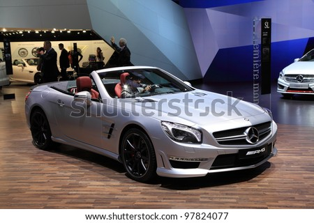 GENEVA - MARCH 8: A mercedes benz AMG car on display at 82th International Motor Show Palexpo-Geneva on March 8, 2012 in Geneva, Switzerland.