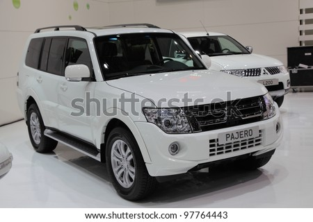 GENEVA, MARCH 8 : A Mitsubishi PAJERO car on display at 82th International Motor Show Palexpo-Geneva on March 8, 2012 in Geneva, Switzerland.