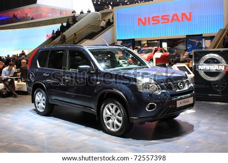 GENEVA - MARCH 3 : A  NISSAN X-TRAIL car show on display at 81th International Motor Show Palexpo-Geneva on March 3, 2010 in Geneva, Switzerland.