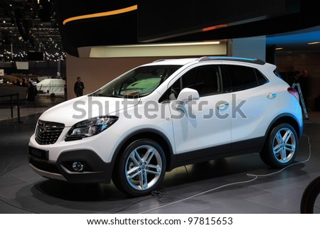 GENEVA, MARCH 8 : A  OPEL mokka car on display at 82th International Motor Show Palexpo-Geneva on March 8, 2012 in Geneva, Switzerland.