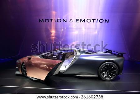 GENEVA, MARCH 3:A peugeot ONYX  car on display at 85th international Geneva motor Show at Palexpo-Geneva on March 3, 2015 at Geneva, Switzerland.  - stock photo