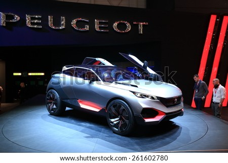 GENEVA, MARCH 3:A peugeot quartz car on display at 85th international Geneva motor Show at Palexpo-Geneva on March 3, 2015 at Geneva, Switzerland.  - stock photo