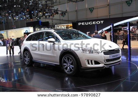 GENEVA, MARCH 8 : A peugeot 508 RXH car on display at 82th International Motor Show Palexpo-Geneva on March 8, 2012 in Geneva, Switzerland.